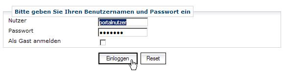 Screenshot zur Authentifzierung am Gateway
